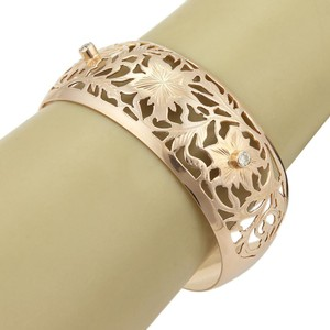 Modern Vintage Russian Diamond 26mm Wide Open Floral 14k Rose Gold Design Cuff