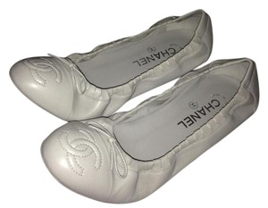 Chanel Ballerina Scrunch Grey Flats