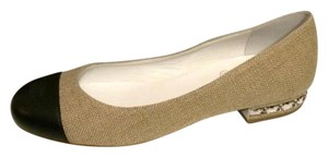 Chanel Ballerina Two Tone Linen Chain Beige, Black Flats
