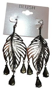 Blush New Blush Silver Tone Leaf Dangle Earrings 3 Inch J3198