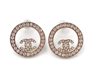 Chanel Chanel Brand New Silver CC Round Crystal Piercing Earrings