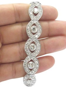 Other Platinum Vintage Round Diamond Circular Milgrain WIDE Tennis Bracelet