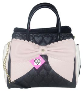 Betsey Johnson Cross Body Fuchsia Satchel in black