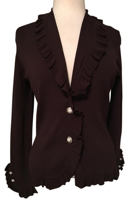 Item - Brown Ruffled Collar Trim and Cuffs Pearl Rhinestone Buttons Cardigan Size 4 (S)