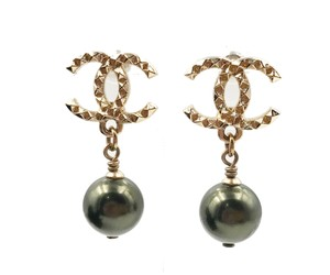 Chanel Chanel Brand New Gold CC Stud Green Pearl Piercing Earrings