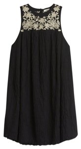 Aritzia short dress black and white Bohemian Trapeze Flowy Embroidered on Tradesy