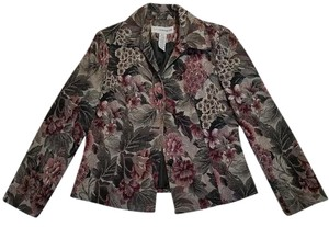 Sag Harbor Brown tapestry with white and maroon flowers Blazer