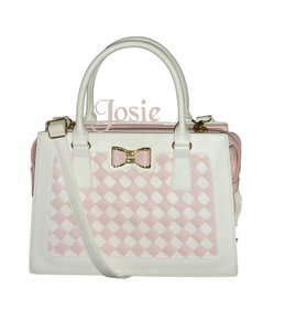 Betsey Johnson Cross Body Blush Woven Front Panel Satchel in BLUSH/BONE