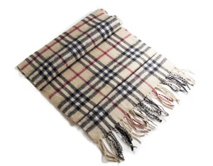 Burberry BURBERRY Heritage Scarf in 100% Cashmere Beige Check