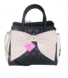 Betsey Johnson Cross Body Black Blush Bow Quilted Heart Satchel in BLACK/BONE
