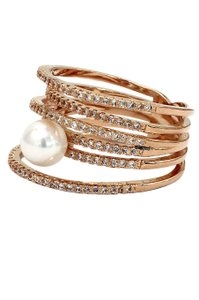 Ocean Fashion Micro pave small crystal sparkling pearl rose gold ring