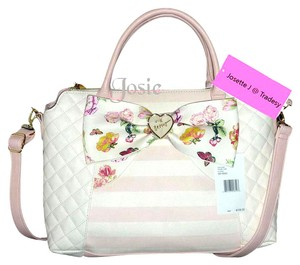 Betsey Johnson Cross Body Oversized Wallet Satchel in blush/ bone
