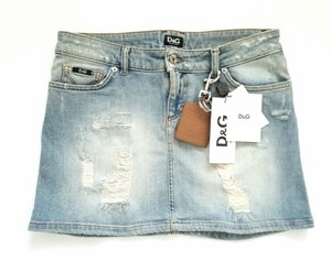 Dolce&Gabbana D&g Mini Denim Distressed Mini Skirt denim blue