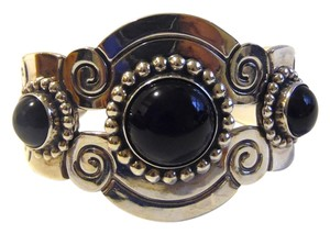 Artisan Crafted Sterling Silver Black Onyx Cuff Bracelet fits 6 3/4