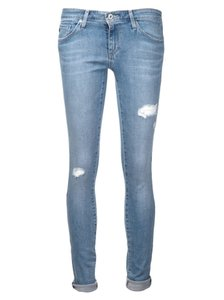 AG Adriano Goldschmied Distressed Slim Stretchy Destroy Light Wash Skinny Jeans-Distressed