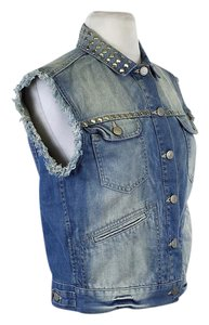 Isabel Marant Blue Denim Studded Vest