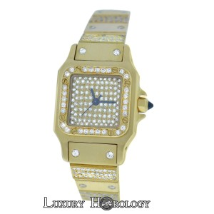 Cartier Genuine Mint Women's Cartier Santos 18K Yellow Gold Diamond 24MM