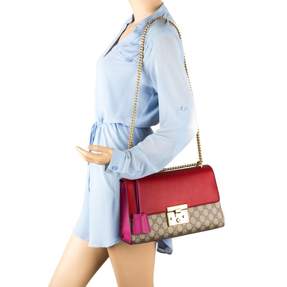 33c3e6680219 Gucci Padlock Hibiscus Red and Pink Leather Gg Supreme Multi-colored Canvas  Shoulder Bag - Tradesy