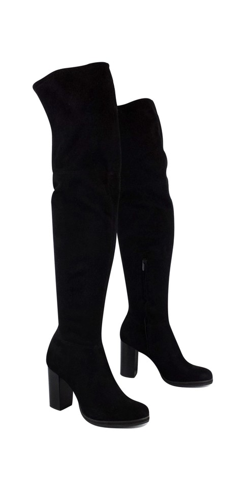 2824ca2fa3f Calvin Klein Black Suede Thigh High Boots Booties Size US 8 Regular ...