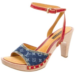 Louis Vuitton Denim Platform Gold Hardware Ankle Strap Lv Monogram Blue, Beige, Red Sandals
