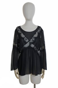 Lil Long Sleeve Woven Silk Top Black