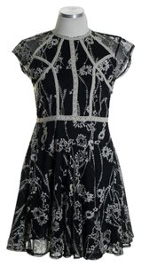Free People short dress Black Emroidered Cap Sleeve Floral Lace Mesh on Tradesy