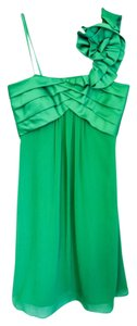 Max and Cleo Wedding One Green Satin Chiffon Formal Knee-length New Dress