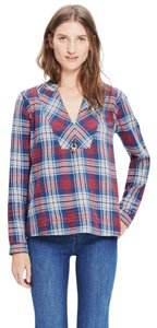 Madewell 3/4 Sleeve Print Woven Flannel Top Red Blue