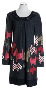 Aryeh short dress Black Red Long Sleeve Print Knit Beaded on Tradesy