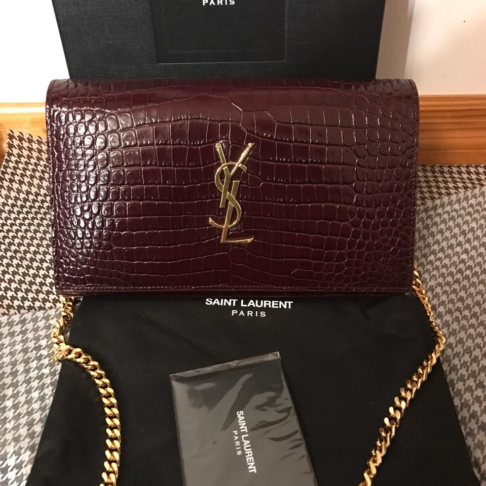 35d160eaa55e Saint Laurent Croc Embossed Gold Hardware Woc Dark Red Leather ...