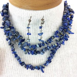 Handmade Vintage Genuine Gemstone Jewelry Set Handmade VINTAGE Genuine Blue Gemstone Necklace and Earrings Set