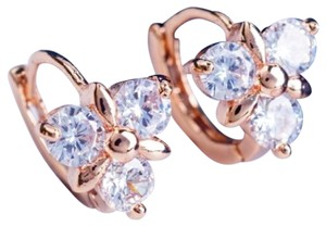 Other New 10K Rose Gold Filled Hoop Earrings Small Cubic Zirconia J3203