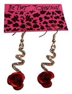 Betsey Johnson New Betsey Johnson Rose Dangle Crystal Earrings J3206