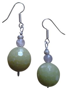 Handmade NEW Handmade Faceted Olive SERPENTINE and Amethyst Beaded EARRINGS Buy3Get1FREE Sale!