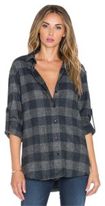 IRO Long Sleeve Flannel Plaid Print Woven Button Down Shirt Gray