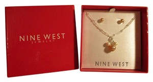 Nine West faux pearl necklace & earring set