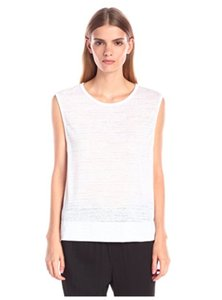 Helmut Lang Tank Burnout Optic Vessel Hi-lo T Shirt WHITE