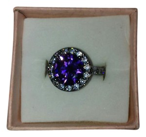 Other Size 6 Black Band Ring With Purple Simulated Round Stone