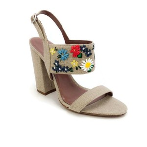 Tabitha Simmons Embroidered Floral Linen / Multi Sandals