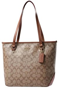 Coach Zip Top City Tote in Saddle