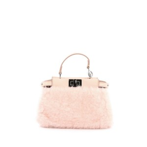 Fendi Shearling Satchel in Light Rose