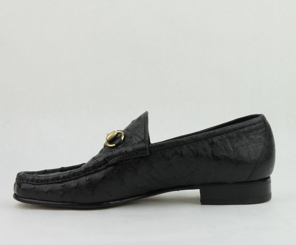 39d4467cf22 Gucci Black Horsebit Ostrich Classic Loafer Moccasin 6.5  Us 7.5 ...