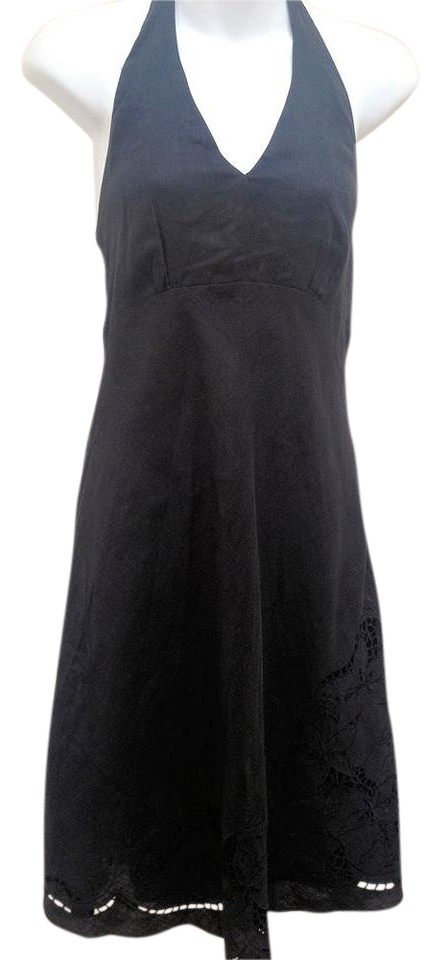 7bf6b5cae5 Ann Taylor Black Linen Halter Embroidered Cutout Mid-length Cocktail ...