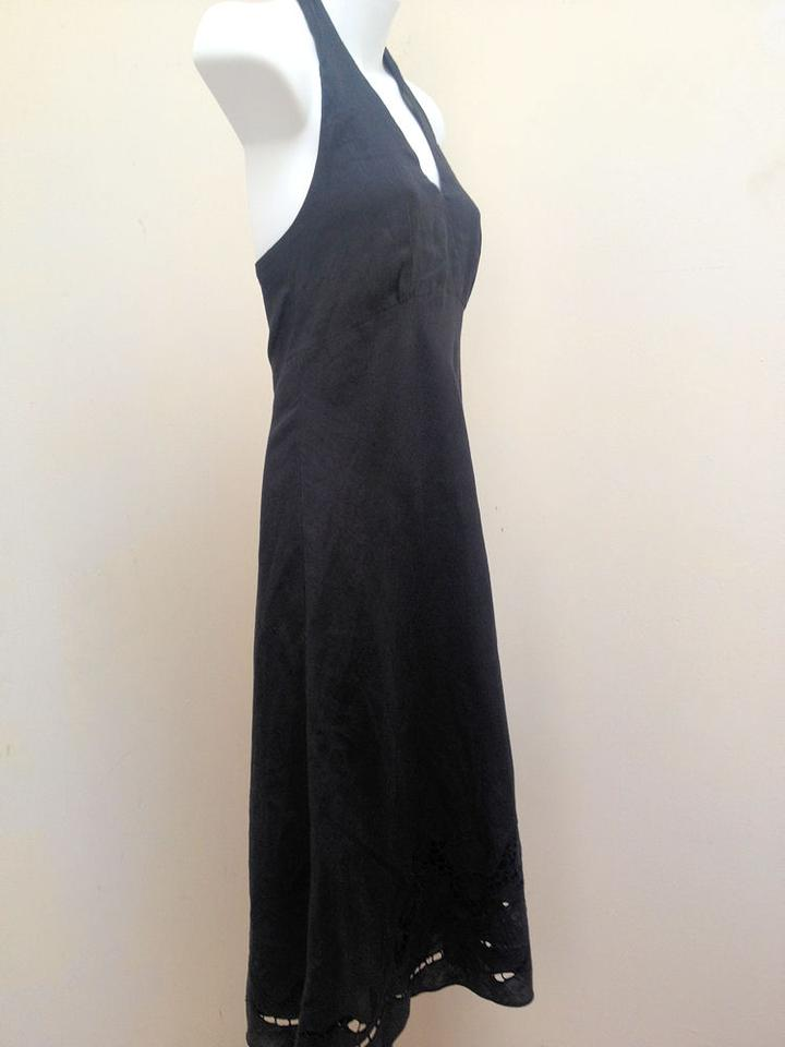 7a1db76fe8 Ann Taylor Black Linen Halter Embroidered Cutout Mid-length Cocktail Dress  Size 2 (XS) - Tradesy