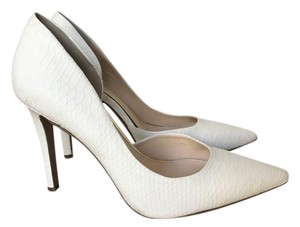 Jessica Simpson Snakeskin D'orsay Pointed Toe Dorsay White Pumps