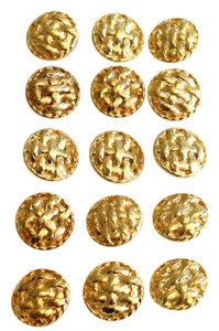 Chanel 15 Gold Tone Woven Large 30mm Shank Buttons