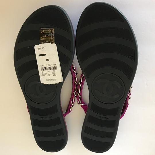 Chanel Thongs Cc Flat Woven Chain Suede Purple Sandals Image 3