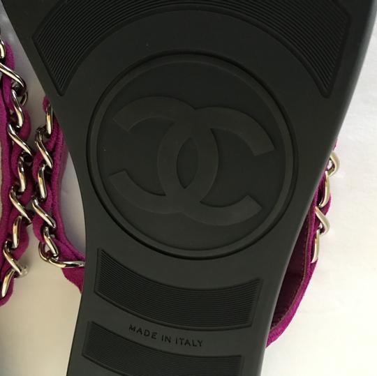 Chanel Thongs Cc Flat Woven Chain Suede Purple Sandals Image 4