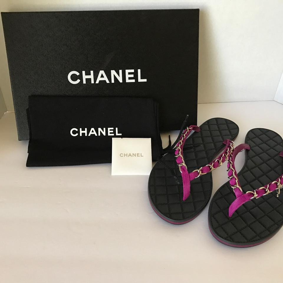 473783c39523 Chanel Purple New 15s Chain Quilted 37 Flats Flip Flops Sandals Size ...