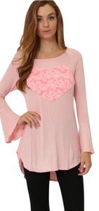 Other Heart Bell Sleeve Soft Comfortable Top pink